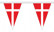 Denmark Triangular Flag Bunting - 20m Long - 54 Flags